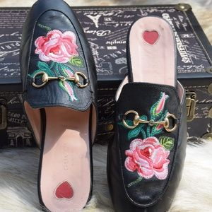 GUCCI Slip On Loafers Princetown Embroider Flowers